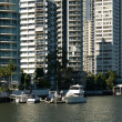 Apartment Buildings on Waterway — Stock Photo