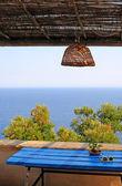 Balkong med utsikt över Adriatiska havet — Stockfoto