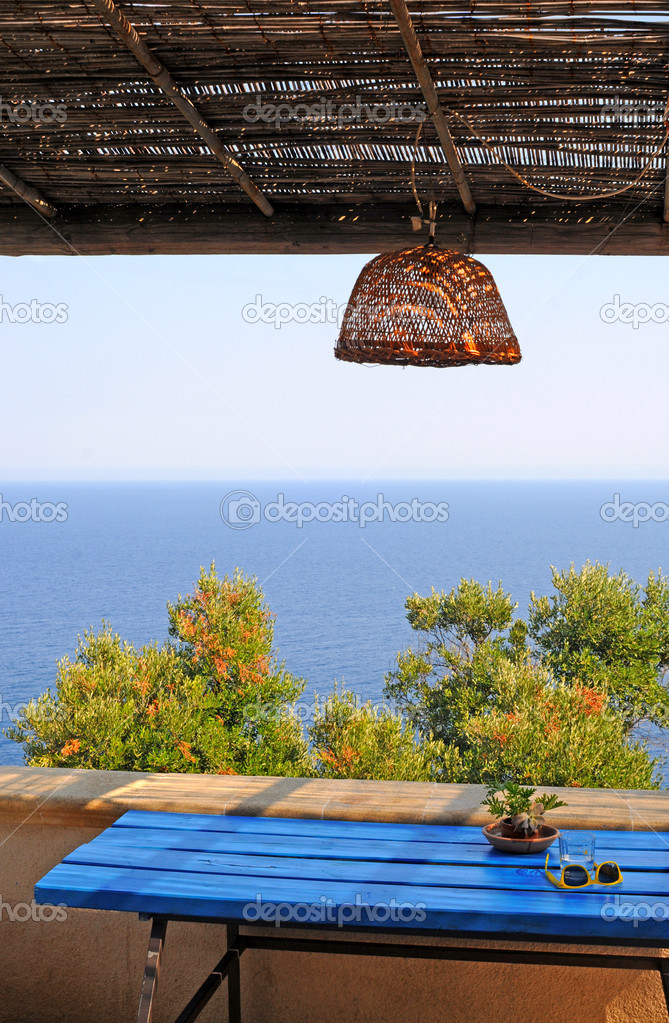Balcony overlooking Adriatic Sea in Leuca, Italy — Stock Photo #7326428