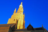 Church of Our Lady, Bruges by night — Stock Photo