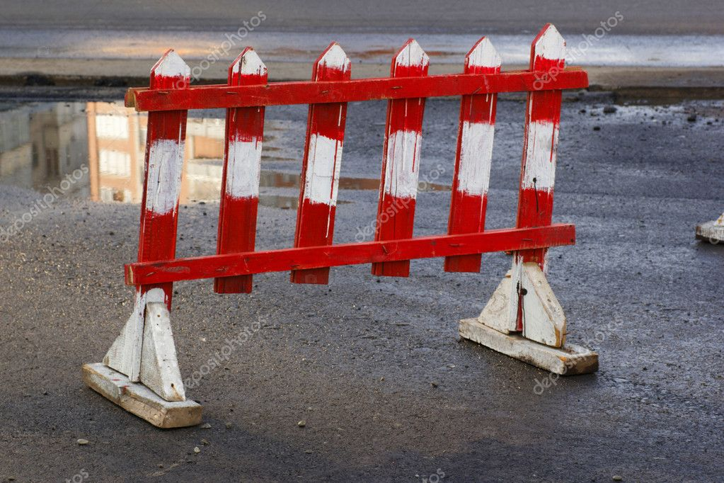 Small road barrier before road construction — Stock fotografie #6851785