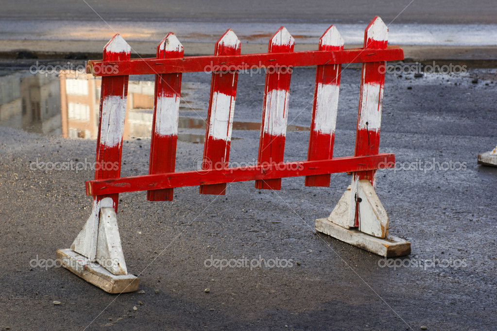 Small road barrier before road construction — Stok fotoğraf #6851785