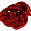 Apocryphal knot on double red rope — Stock Photo #7389590