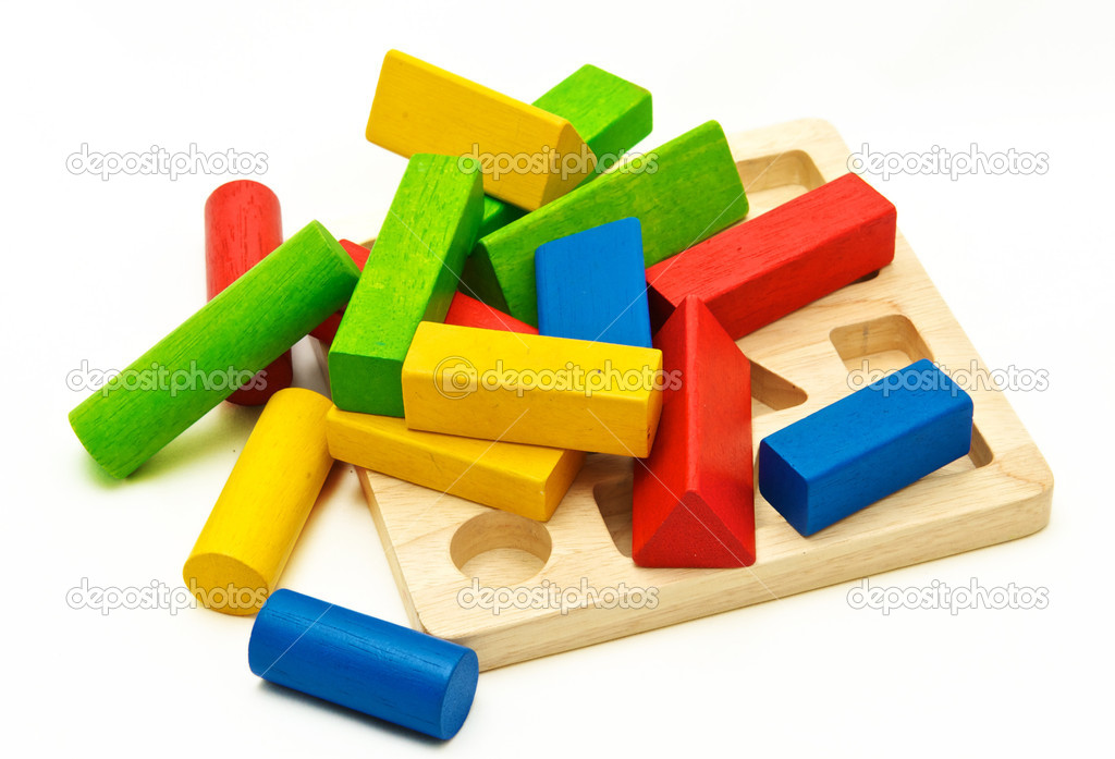 Wooden toy blocks on white background — Stock Photo #7960836