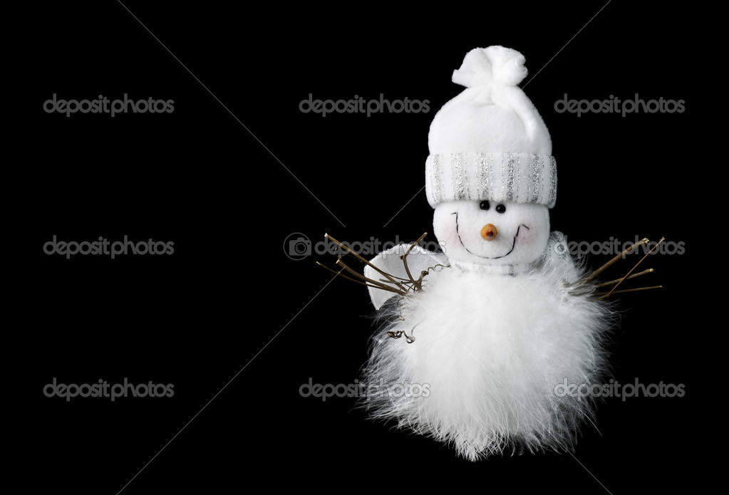 The white snowman on a black background . — Stock Photo #6914986