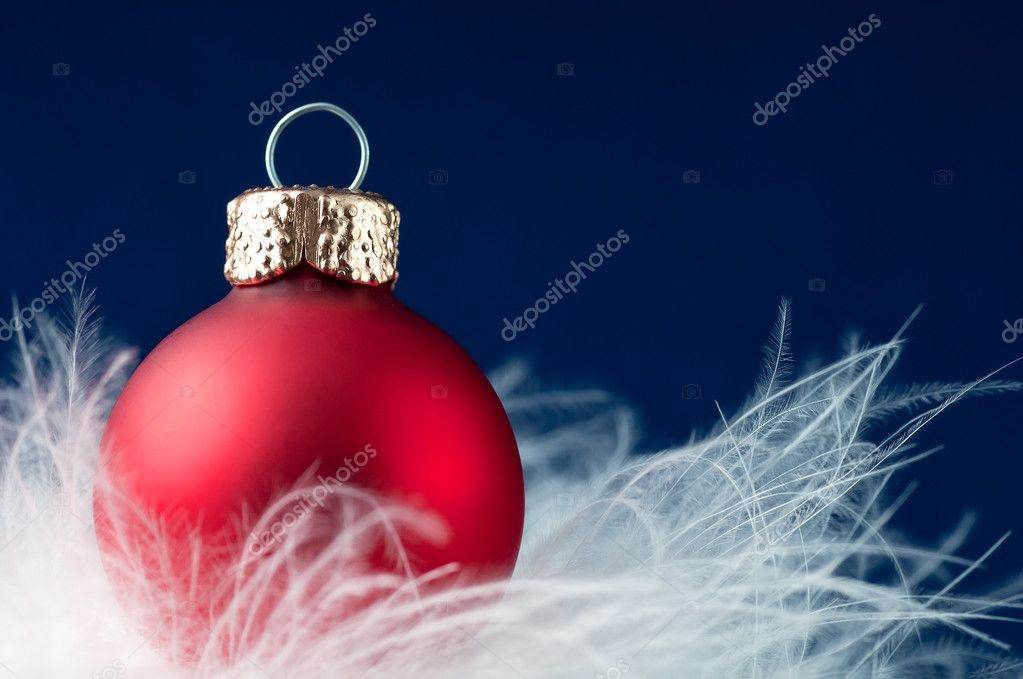 Christmas ball on the blue background . — Stock Photo #6914996