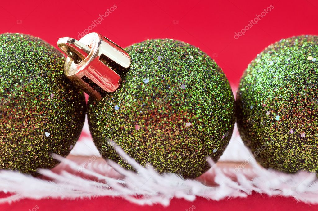 Christmas ball on the red background . — Stock Photo #7325827