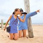 Girls on a beach. — Stock Photo
