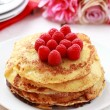 Pancakes with fresh raspberries — Stock Photo