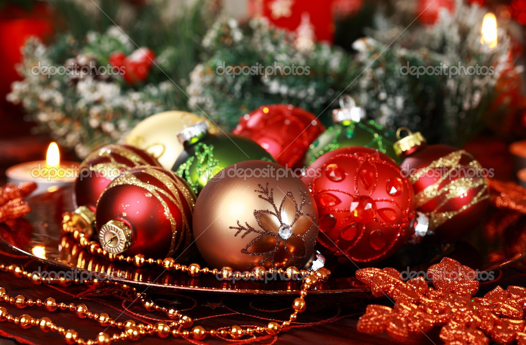 Beautiful Christmas ornaments as table decoration — Stockfoto #7471691