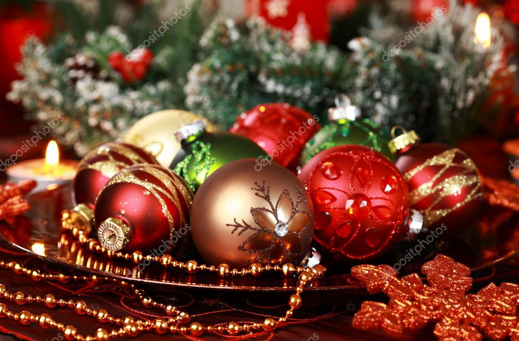 Beautiful Christmas ornaments as table decoration — Stok fotoğraf #7471691