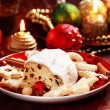 Christmas stollen with gingerbread — Stock Photo