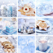 Christmas collage in white - Stockfoto