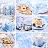 Weihnachten-collage in weiß — Stockfoto