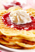 Waffles with fresh strawberry jam — Stock Photo