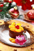 Chocolate Cup Cake for Christmas — Stock Photo