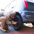 Wheel changing — Stockfoto