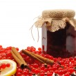 Jar of homemade red currant jam with fresh fruits — Stock Photo