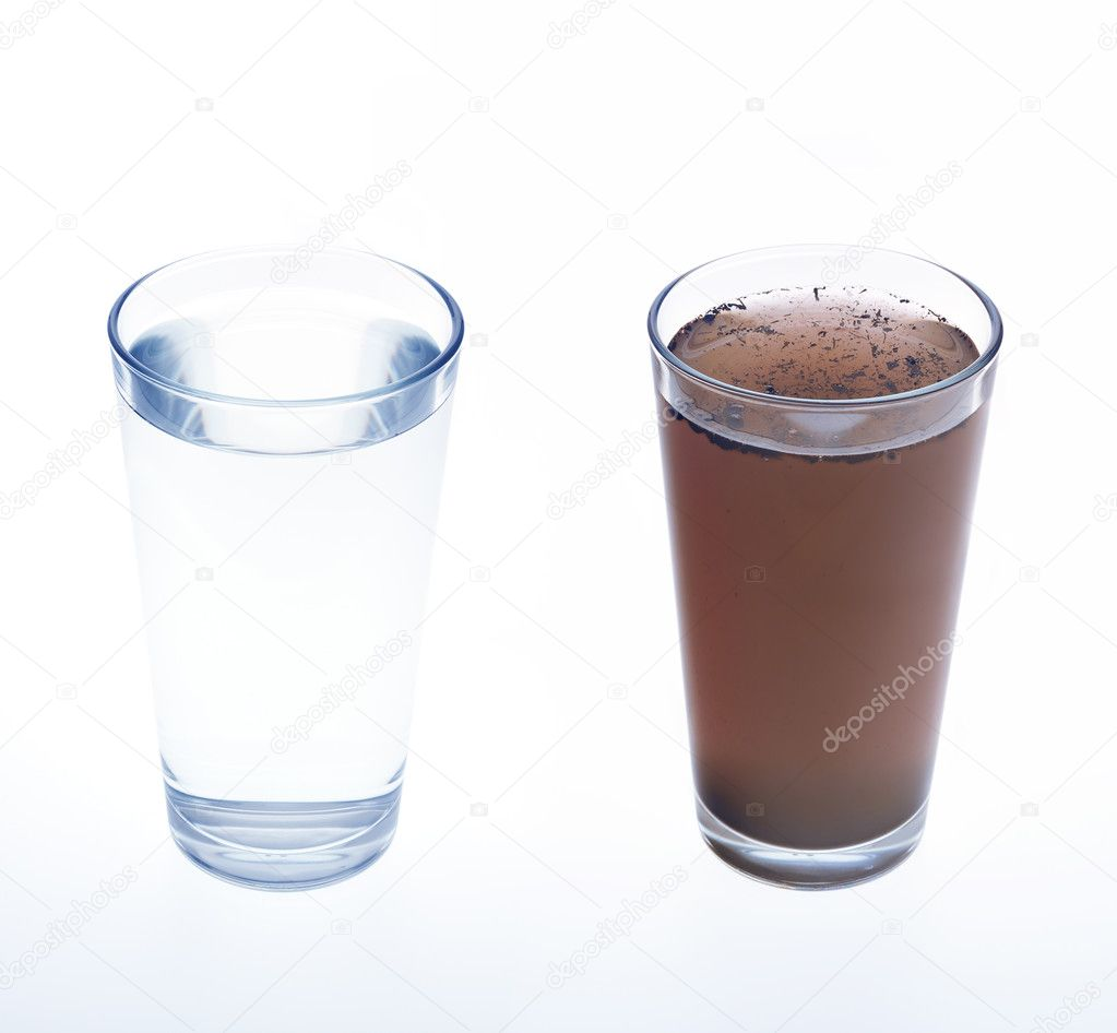 Clean and dirty water in drinking glass - concept — Stock Photo #7307813