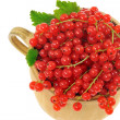 Ceramic cup full of fresh red currant berries. Clipping path included — Stock Photo