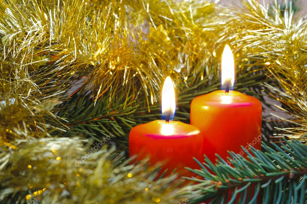 Christmas candles on branch — Stock Photo #7240872