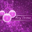 Pink xmas balls on purple — Stock Vector