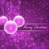 Pink xmas balls on purple — 图库矢量图片