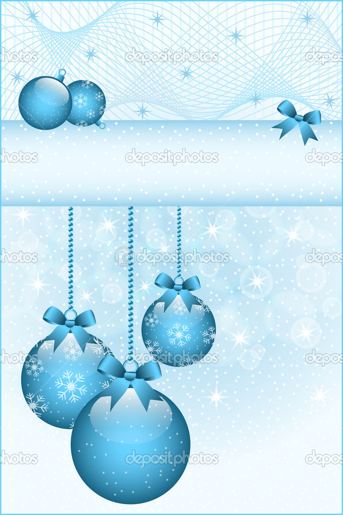 Blue christmas balls and bows decorated with snowflakes. Stars and snow in the background. Copy space for text.  Stock Vector #7143486
