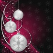 Silver xmas balls on red and black — Vector de stock #7263931