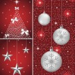 Christmas balls, tree and stars — Vector de stock