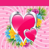 Pink love hearts and flowers — Stockvektor