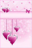 Pink love hearts and bow — Stock Vector