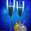 Christmas champagne and baubles — Stock Vector