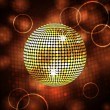 Stock Vector: Sparkling gold disco ball and lense flares