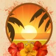 Tropical beach scene and hibiscus flowers — 图库矢量图片