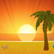 Summer sunset beach with palm tree — Stock Vector