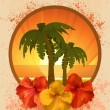 Hibiscus flowers and palm trees — Stock Vector