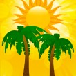 Royalty-Free Stock Vector Image: Palm trees and summer sun