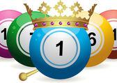 Bingo ball king — Stock Vector