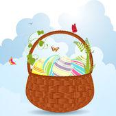 复活节彩蛋篮 — 图库矢量图片