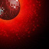 Red disco ball and haltone — Stock Vector
