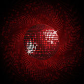 Red disco ball and halftone — Stock Vector