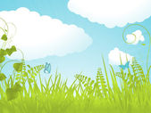 Tranquil spring background with fluffy clouds — Stock Vector