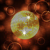 Sparkling gold disco ball and lense flares — Stock Vector