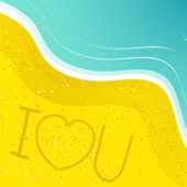 Love message in the sand — Stock Vector