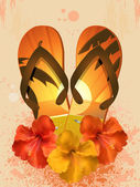 Hibiscus flowers and flip flops — Stock Vector