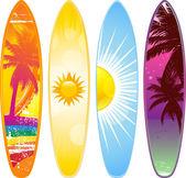 Tropical surfboard — Stock Vector