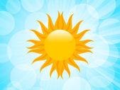 夏天太阳在蓝蓝的天空风景 — 图库矢量图片