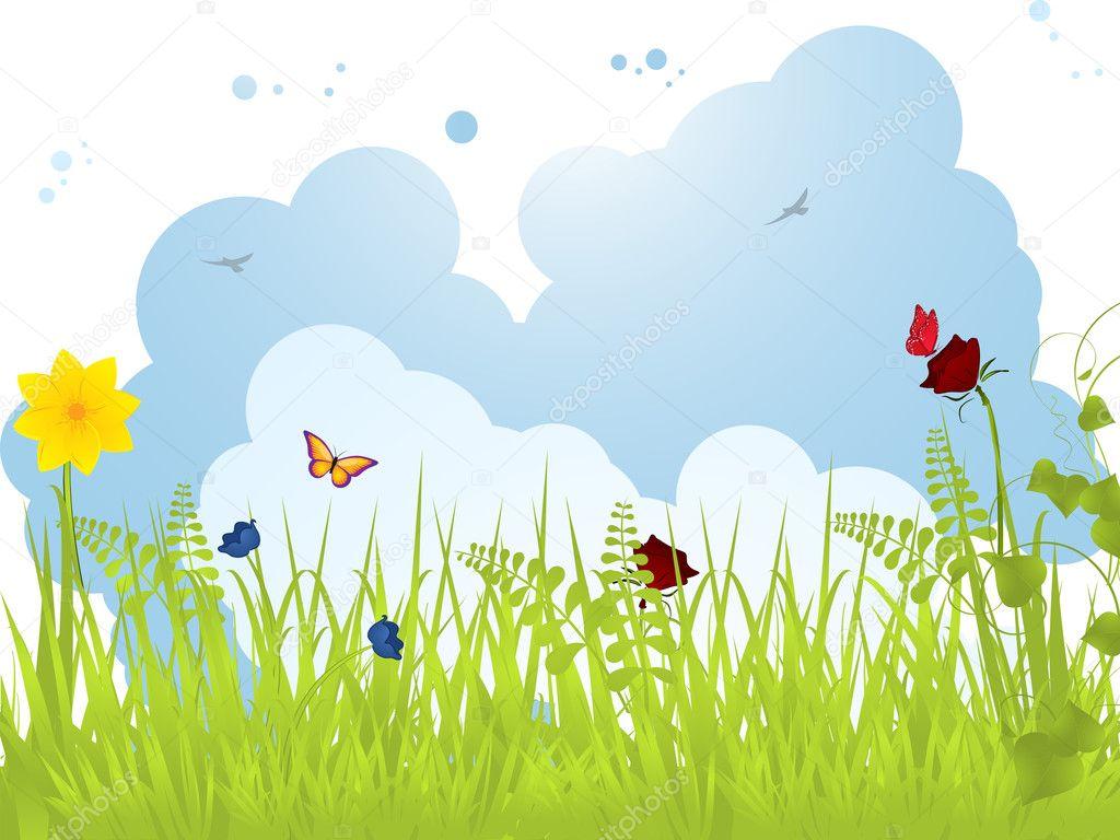 春天风景与蝴蝶, 花朵, 蓬松的云彩– 图库插图
