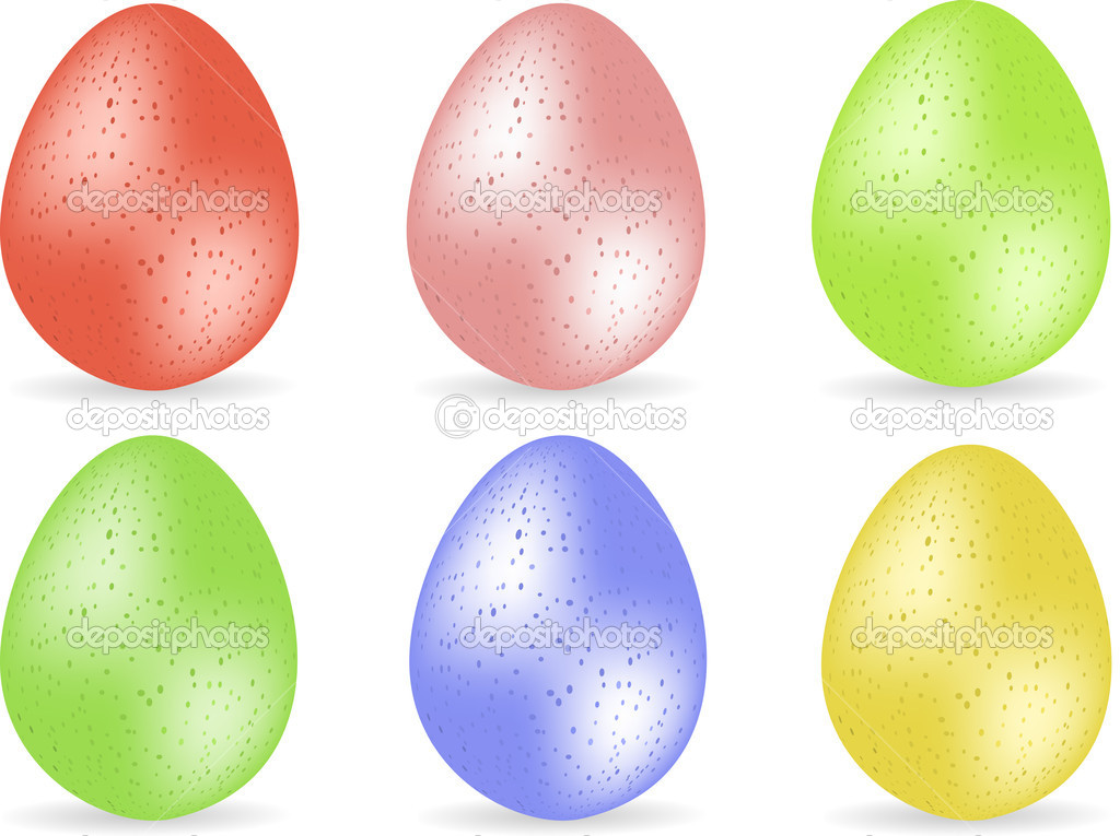 Set of six speckled easter eggs with shadows  Stock Vector #7658336